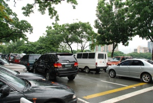 double parking on both sides on road beside katipunan