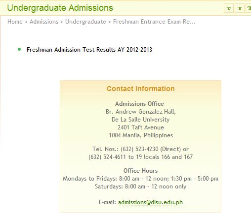 La Salle Admissions >> De La Salle College Admissions Test Results Wawam After Hours